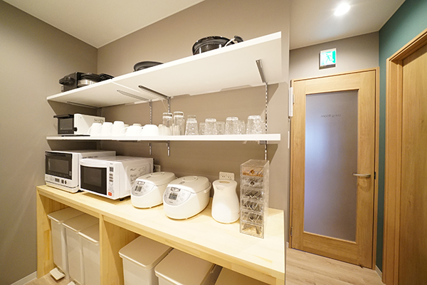 Convenient kitchen goods are laid out to be easy to use