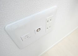 Internet LAN outlet, Coaxial cable outlet for TV for each room.