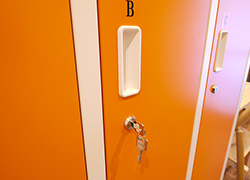 Dormitory for female with private locker with lock.