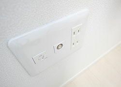 LAN outlet, Coaxial cable outlet for TV in each room.