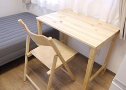 Foldable desk and chair.