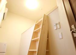 Room 204 63,000 yen. We have a step like this to get up to the loft space.