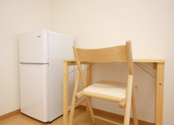2 door refridgerator, desk and chair is for all room.