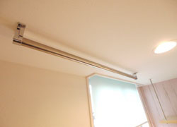 Epipe hanger which is easy to hang clothes is in room C.