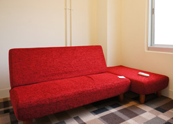 Create an original private area with a sofa bed (Room D)